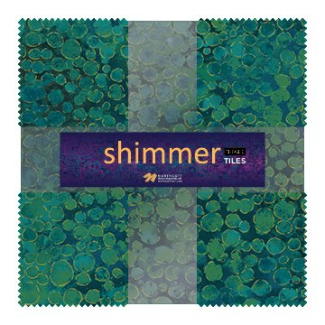 Eclipse Shimmer Metallic Tiles TSHIMMR42-63 Lagoon 10 Squares
