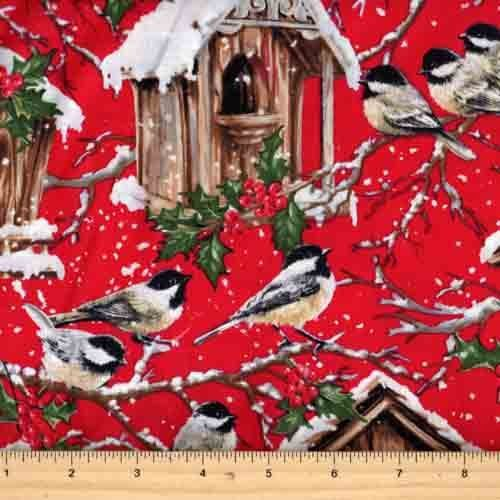 Dona C4262 Red (Chickadees with Snow Covered Houses)