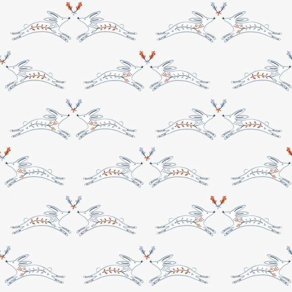 Winterfold WFLD1341/White  (Foxes on White)
