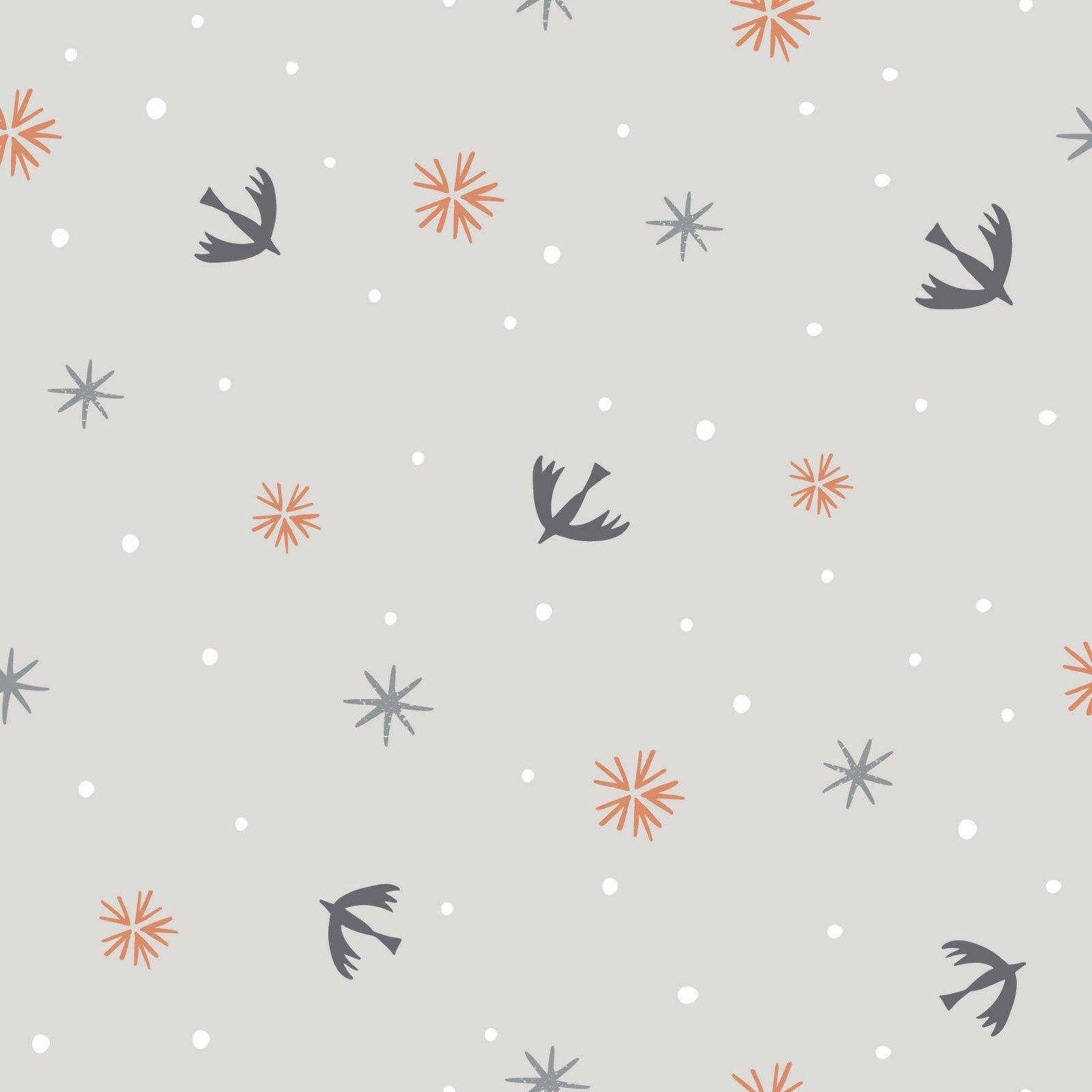 Winterfold WFLD1343/ Lt. Grey  (Birds Stars on LT. Grey)