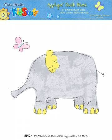 Applique Block Two by Two Gray Elephant 8 x 8