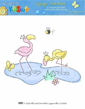 Applique Block Two by Two Flamingos 8 x 8