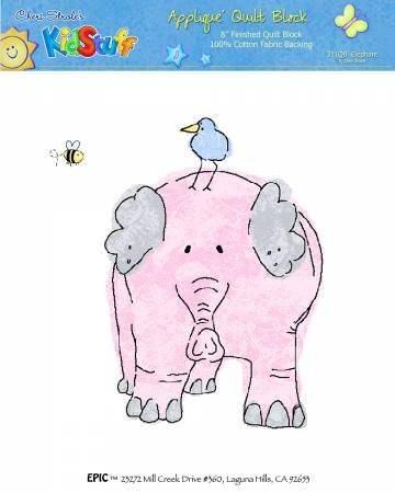 Applique Block Two by Two Pink Elephant 8 x 8