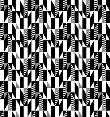 Fade to Black White Gray Geo on Black