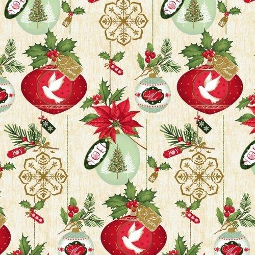 Christmas Village Ornaments on Cream