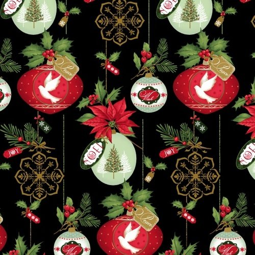 Christmas Village Ornaments on Black