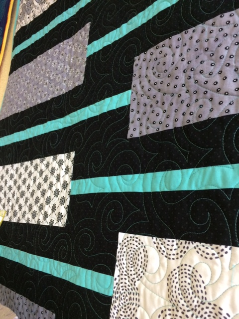 QUILT - Messages Gray Black Teal 59 X 79