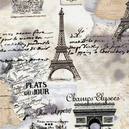 Letters From Paris Toile Cream