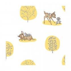 Bambi Trees Yellow on White