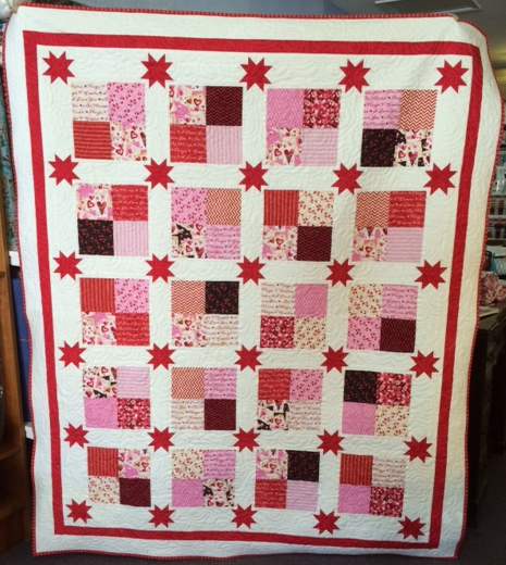Quilt - Floating Stars in Valentine fabric