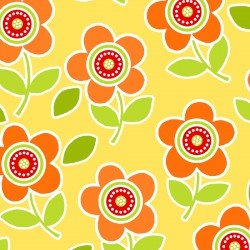 Are We There Yet Flowers Orange on Yellow