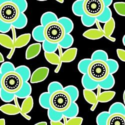 Are We There Yet Flowers Blue on Black