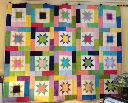 QUILT - Lucky Star Rainbow Colors 59 x 74