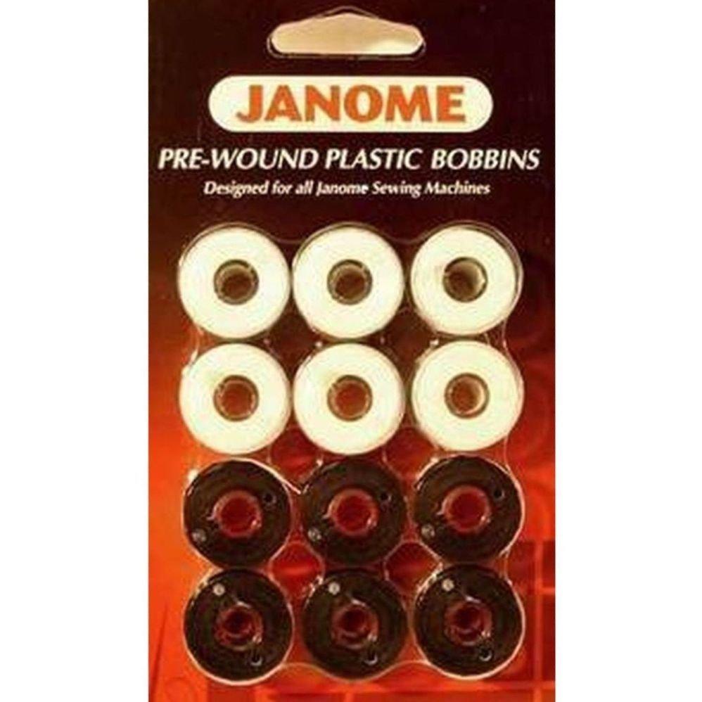 Janome Pre-Wound Bobbins Blk/White