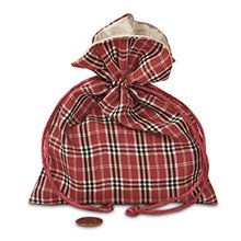 5x7 Red Sally Plaid Fabric Bag