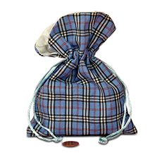 5x7 Blue Sally Plaid Fabric Bag