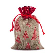 4x6 Natural/Red Christmas Tree Faux Jute Bag