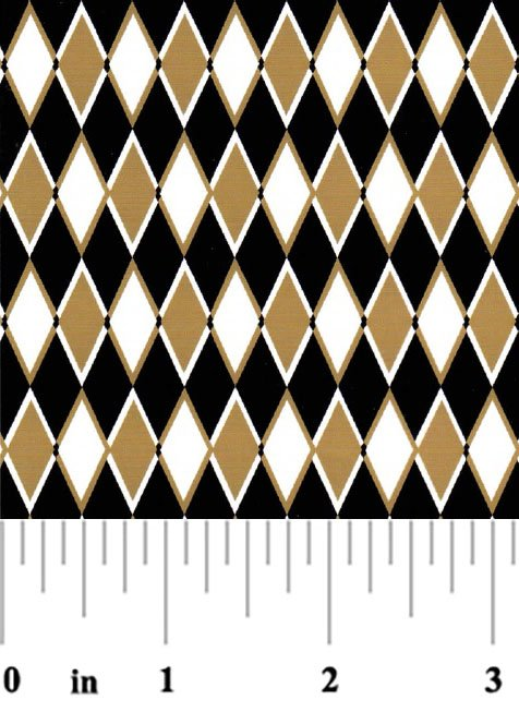 Black and Gold Diamonds Fabric #1963