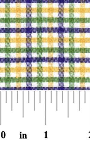 Purple Green and Gold Tri-Check Cotton T62