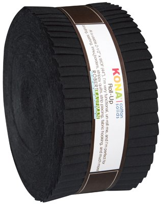 2-1/2in Strips Roll Up Kona Solids Black Colorway 40pcs