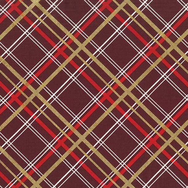 Bow Tie Plaid - Burgundy by Michael Miller