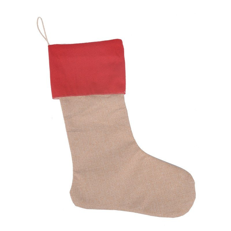 Burlap Christmas Stocking with Red