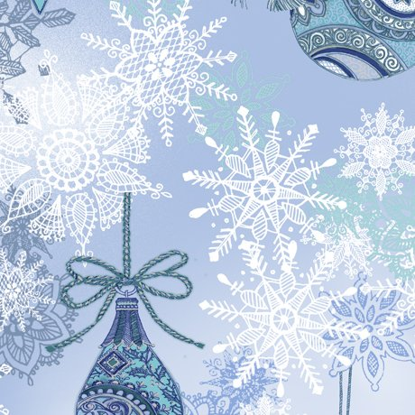 Blue Ornaments and Snowflakes from Winter Frost by Quilting Treasures