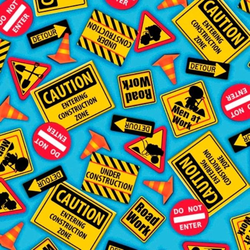 Blue Construction Signs from Dig It by Quilting Treasures
