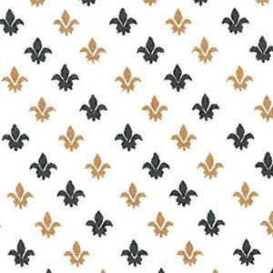 Black and Gold Fleur de Lis on White Fabric #1986