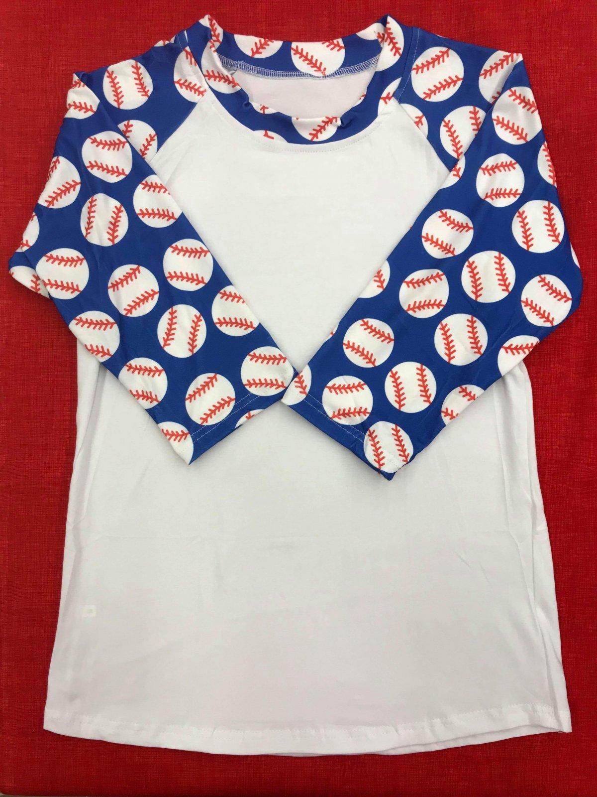Blue Baseball Sleeve Adult Raglan