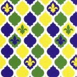 Purple Green and Gold Mini Quatrefoil