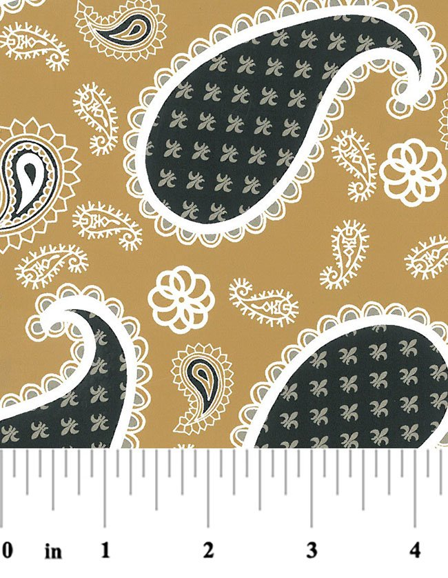 Black and Gold Paisley Fabric #2031