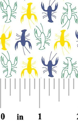 Crawfish Fabric: Purple, Kelly and Gold #2077