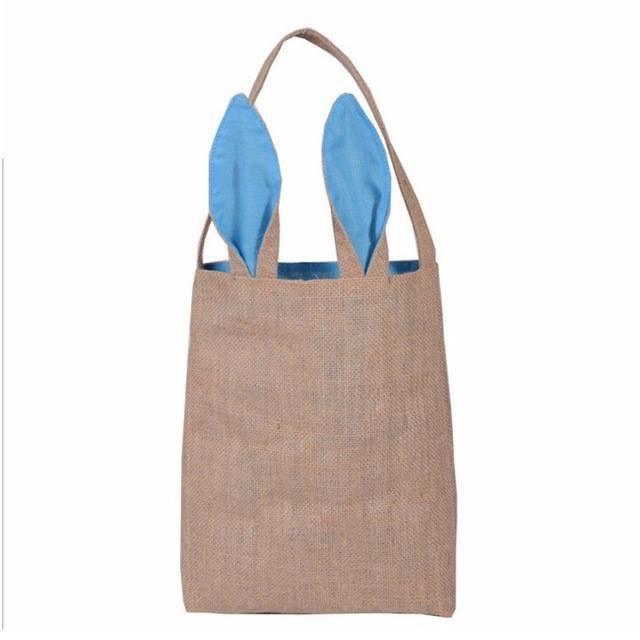 Blue Bunny Burlap Basket