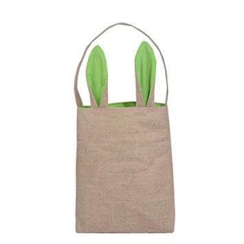 Green Bunny Burlap Basket