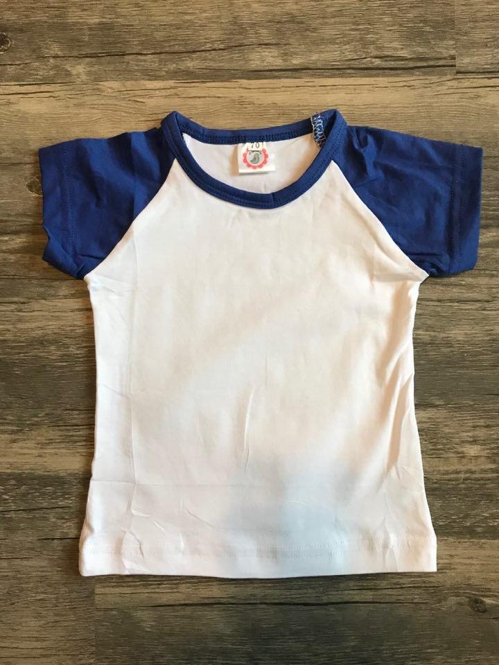 Children's Royal Blue/White  Short Sleeve Raglan
