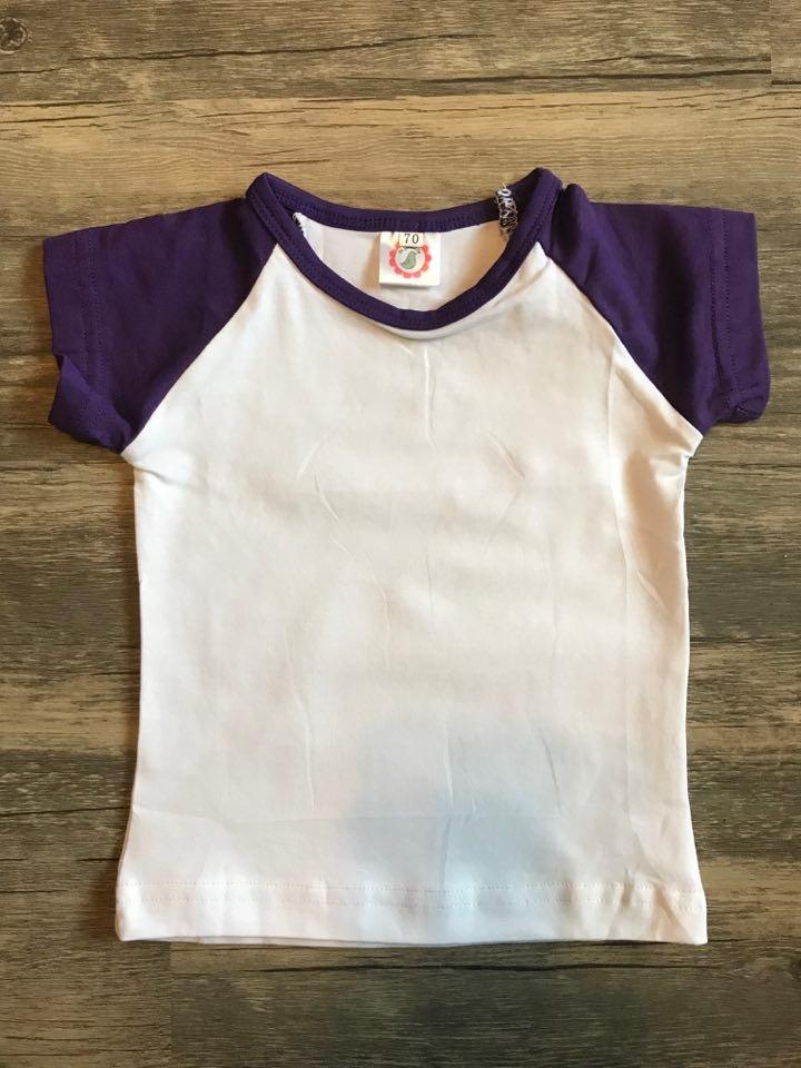 Children's Purple/White Short Sleeve Raglan