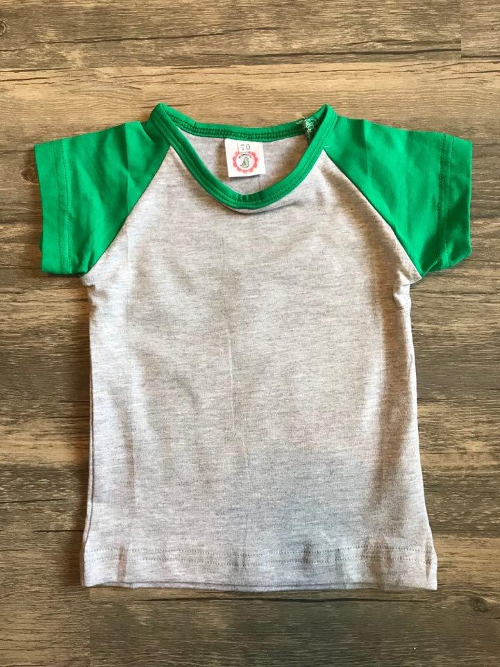 Children's Green/Heather Short Sleeve Raglan