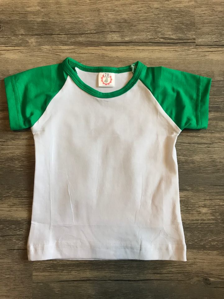 Children's Green/White Short Sleeve Raglan