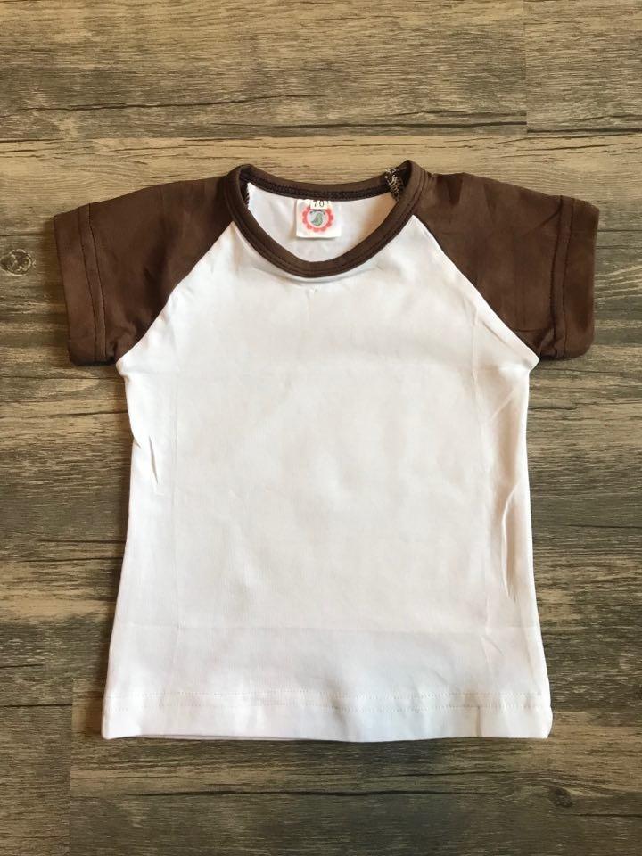 Children's Brown/White Short Sleeve Raglan