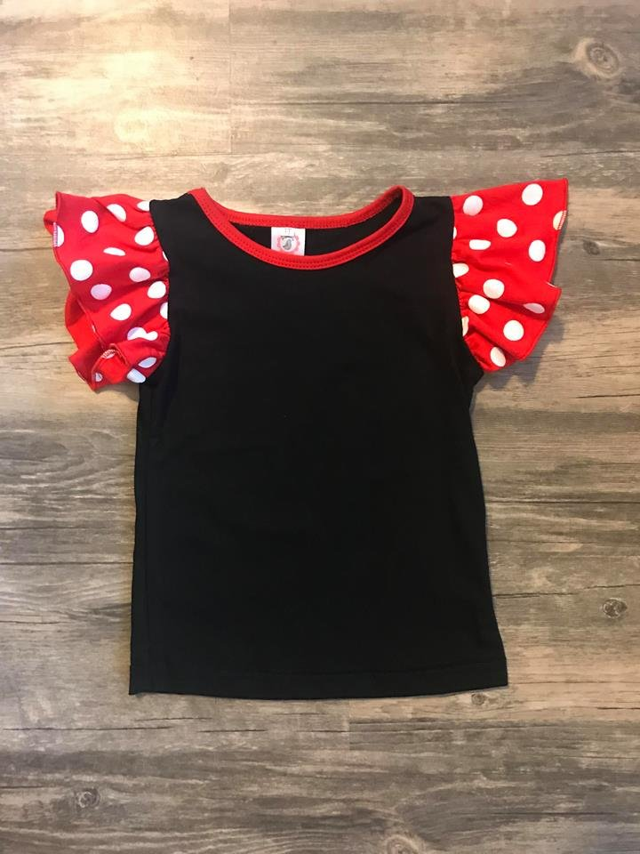Black with Red and White Polka Dots Girl Flutter Sleeve