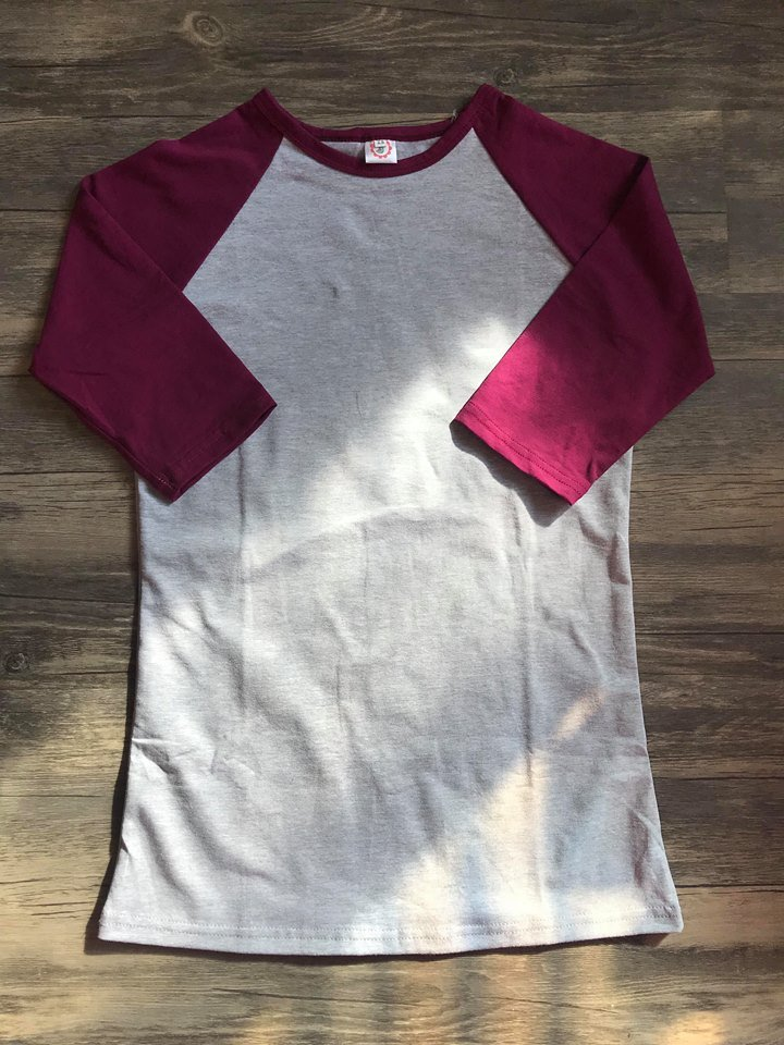 Burgundy and Heather Adult Raglan