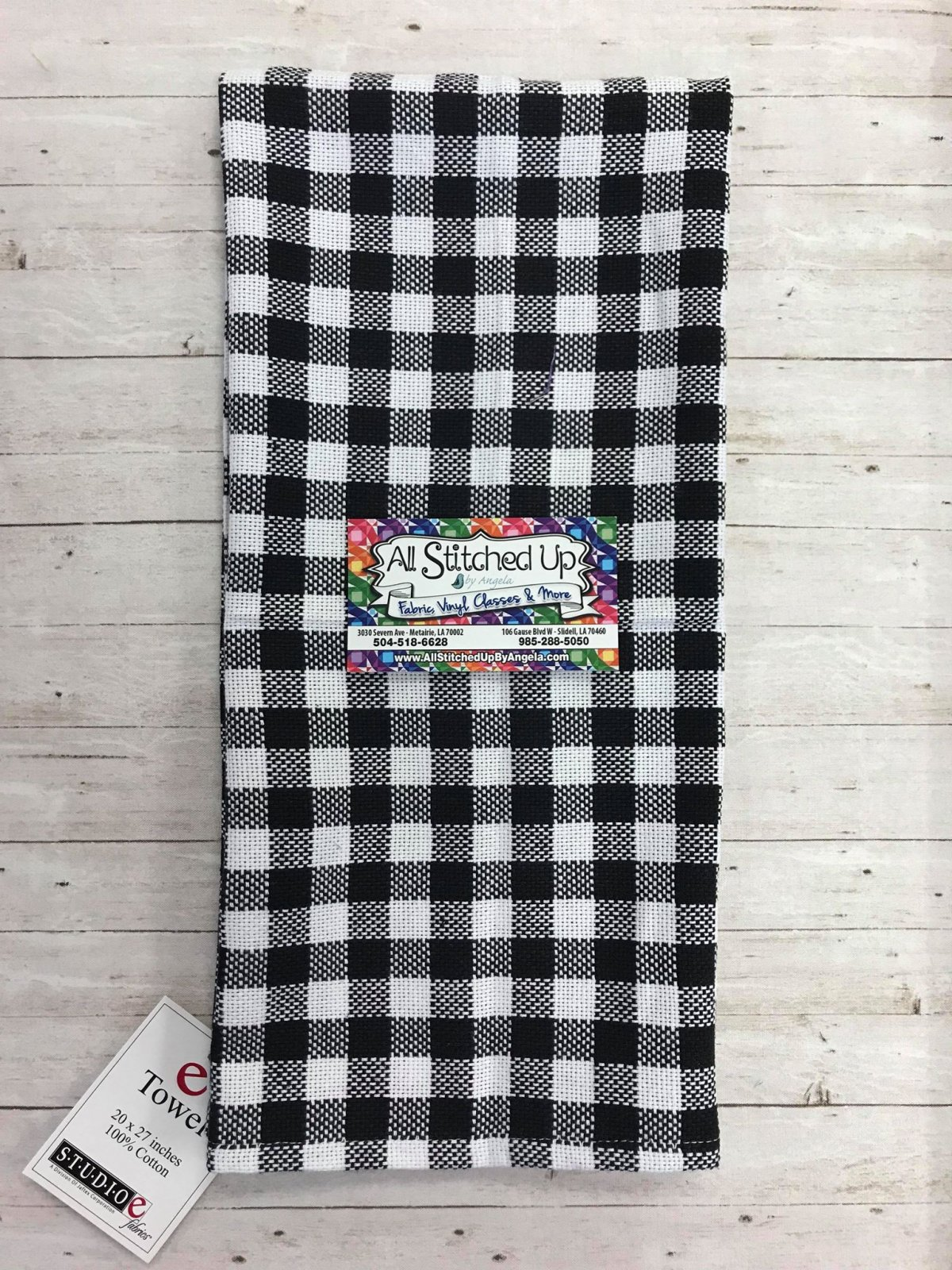 Black Gingham Check Towell