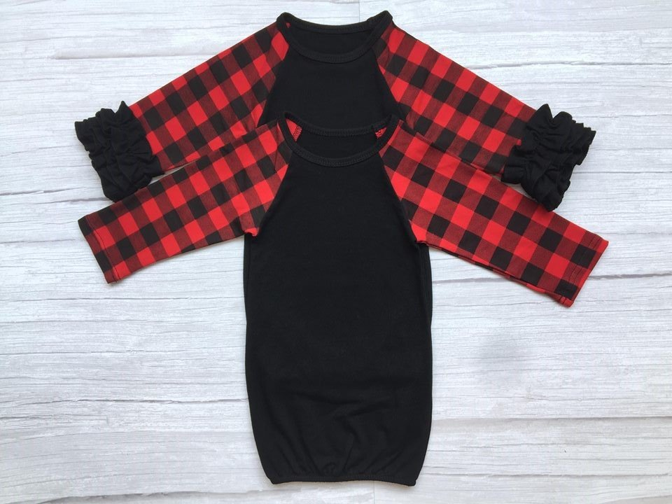 Buffalo Plaid Baby Gown with Ruffles
