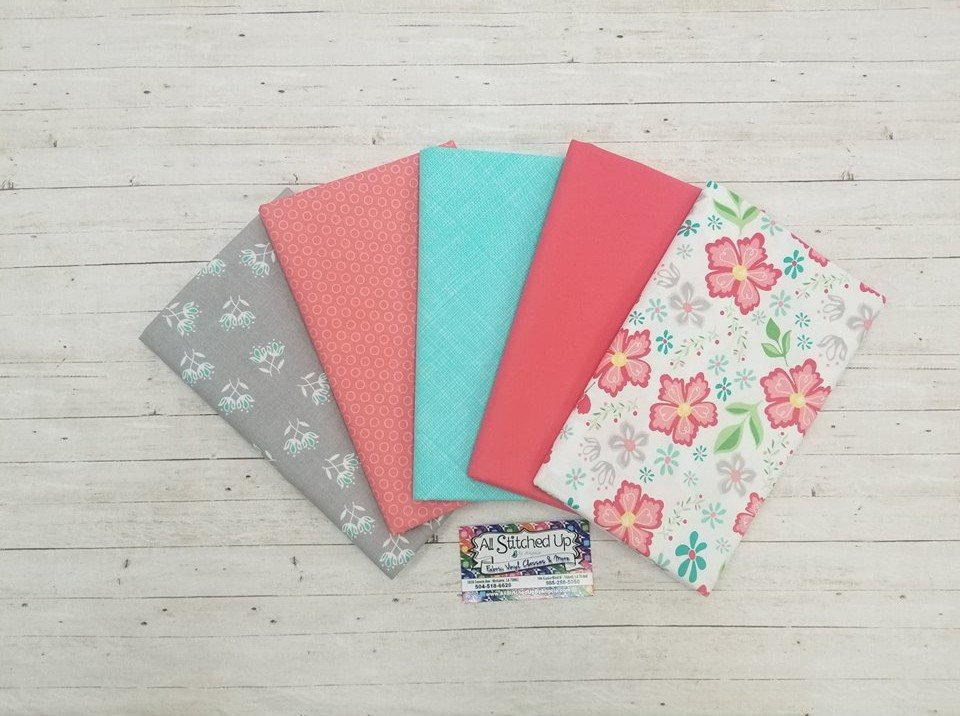 Coral and Teal 5 Yard Quilt Kit
