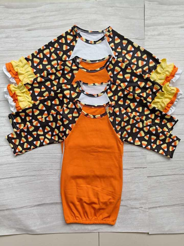 Candy Corn with Orange Baby Gown with Ruffles