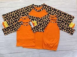 Candy Corn with Orange Adult Raglan