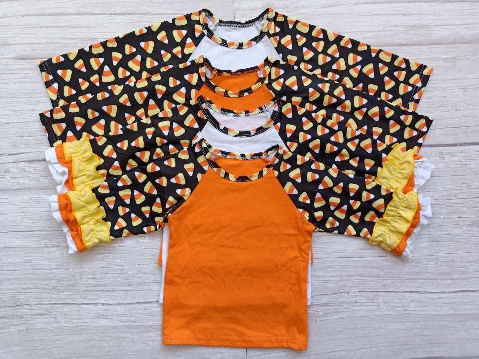 Candy Corn with Orange Child's Raglan with Ruffle