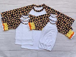 Candy Corn with White Baby Gown with no Ruffle