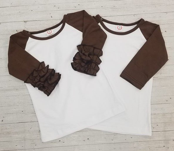 Brown Sleeve Childs Raglan no Ruffle